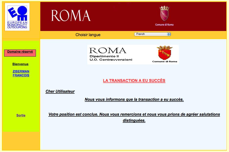 Paiement des amandes en ligne pour des infractions en italie