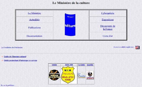 Homepage culture.fr 1996
