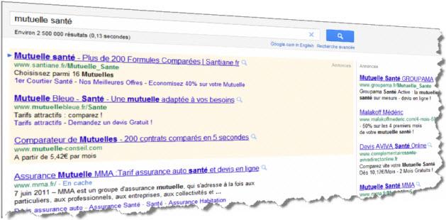 Google requête Mutuelle Santé