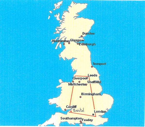 ouest royaume uni carte géographique
